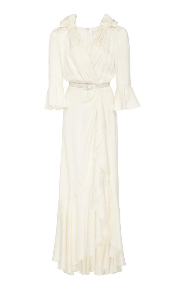 Hellessy Marina Silk-Effect Jacquard Maxi Dress in white