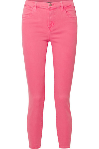 J Brand - Alana High-rise Skinny Jeans - Bright pink