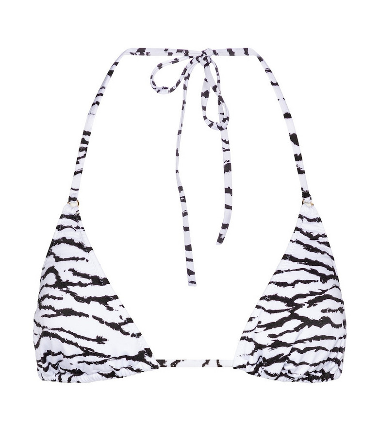 Melissa Odabash Porto tiger-print bikini top in white