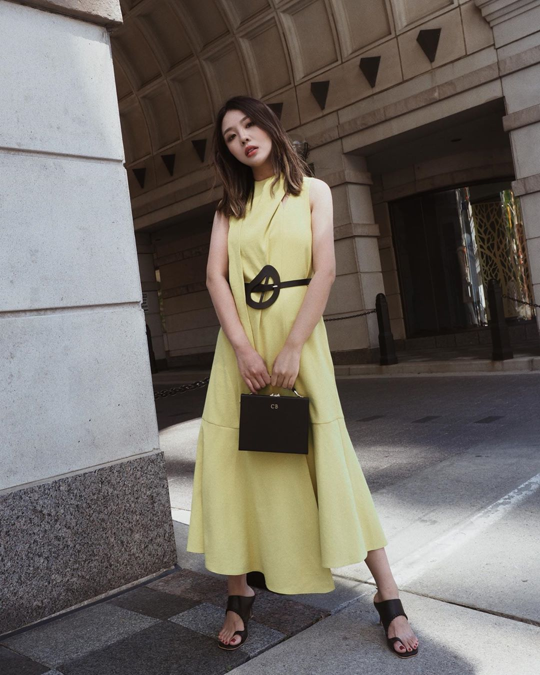 dress midi dress yellow dress sleeveless dress black sandals black bag belt