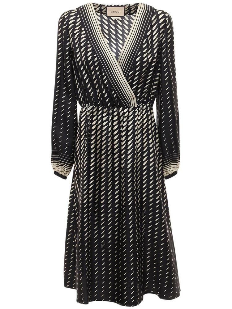 GUCCI Printed Silk Dress W/ Scarf in black / ivory
