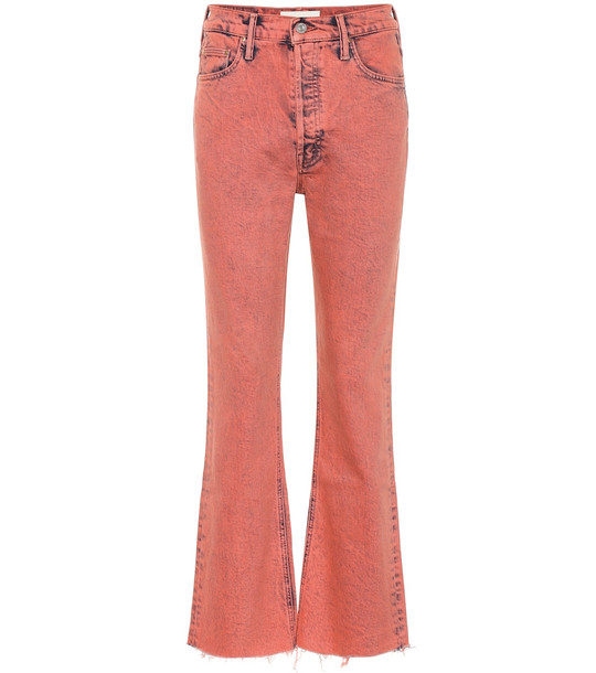 Mother Tripper high-rise cropped bootcut jeans in pink