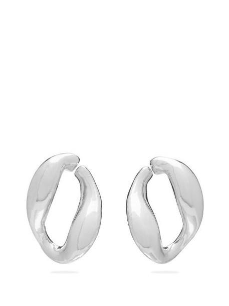 Misho - Chunky Chain Twisted Hoop Earrings - Womens - Silver