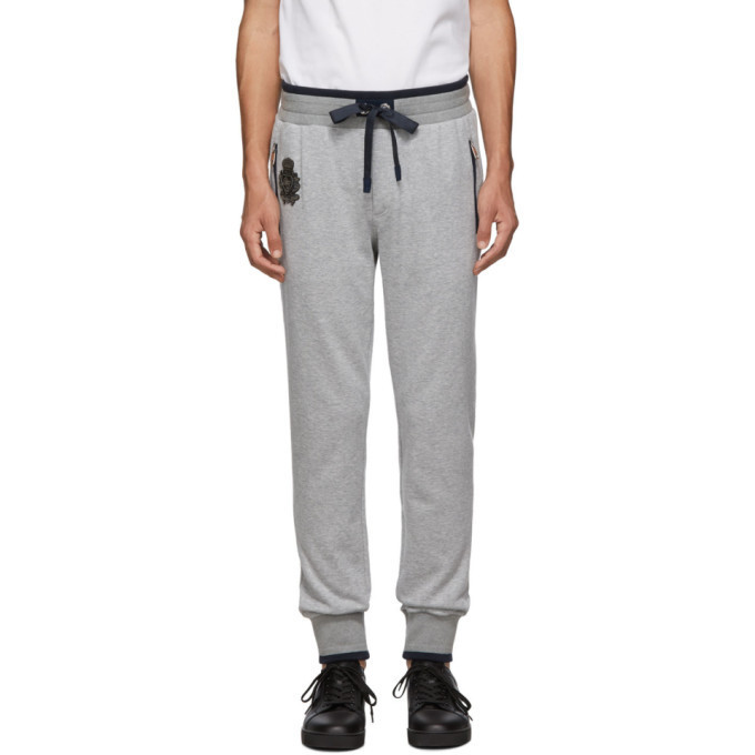 Dolce and Gabbana Dolce & Gabbana Grey Mélange Plain Sweatpants