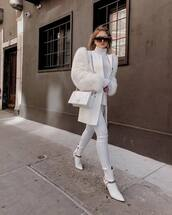 bag,white bag,dior bag,crossbody bag,white boots,ankle boots,white jeans,skinny jeans,white coat,white turtleneck top