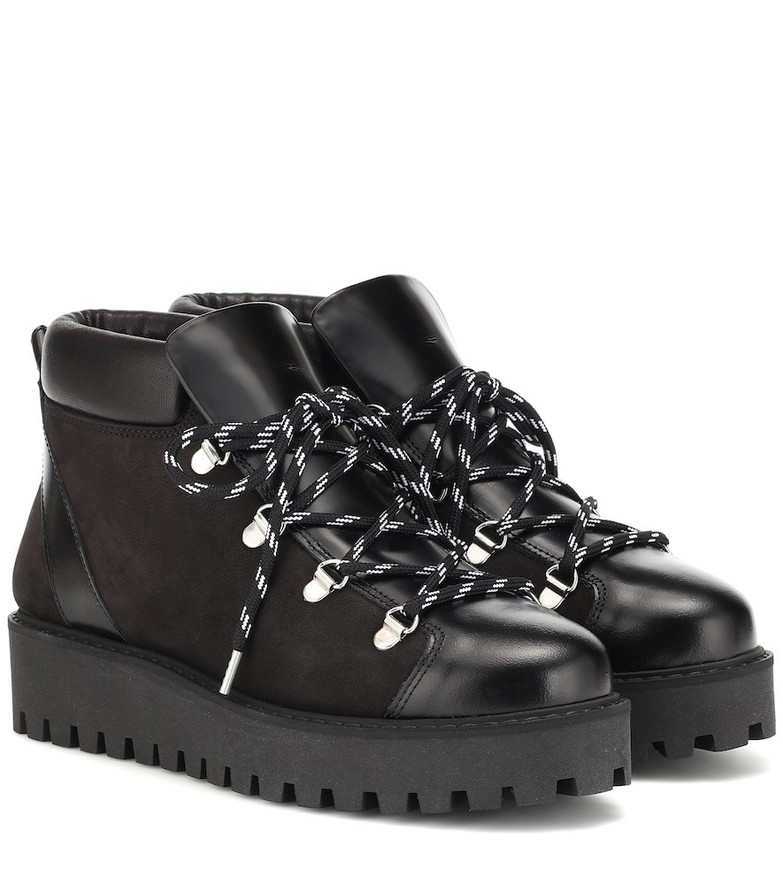 Ganni Leather ankle boots in black
