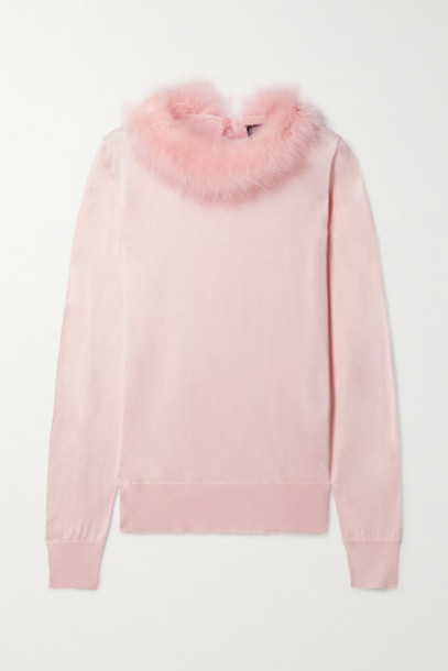 Dolce & Gabbana - Feather-trimmed Silk Sweater - Pastel pink