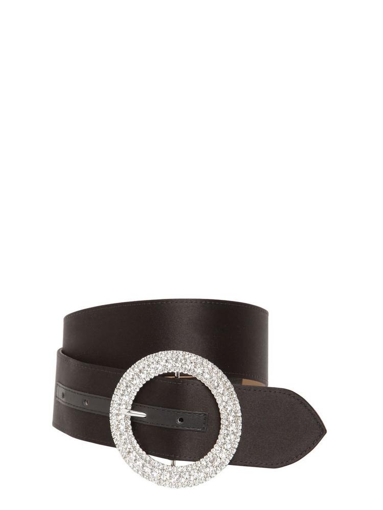B-LOW THE BELT 40mm Clara Satin Belt W/crystal Buckle in black