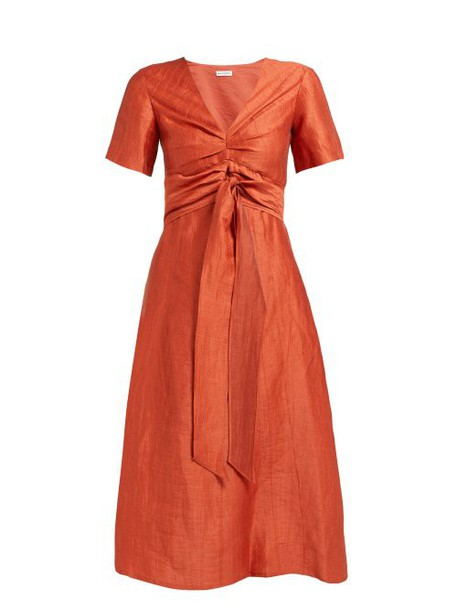 Masscob - Regina Tie Waist Linen Blend Dress - Womens - Orange