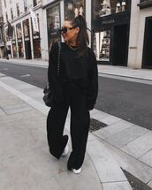 pants,black blazer,wide-leg pants,sneakers,sweatshirt,black bag