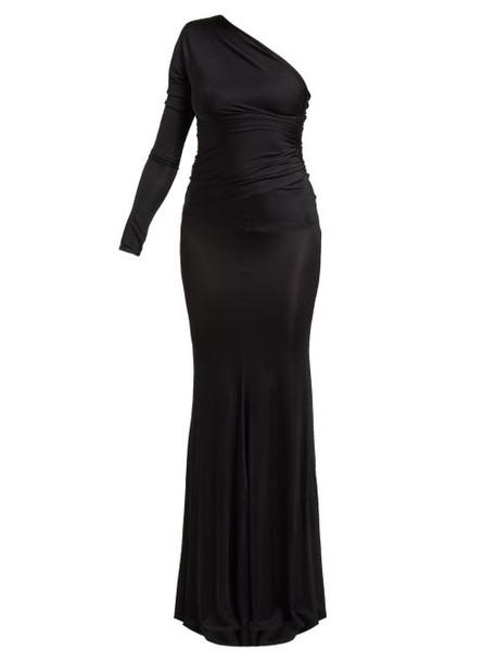Alexandre Vauthier - One Shoulder Ruched Fishtail Hem Dress - Womens - Black