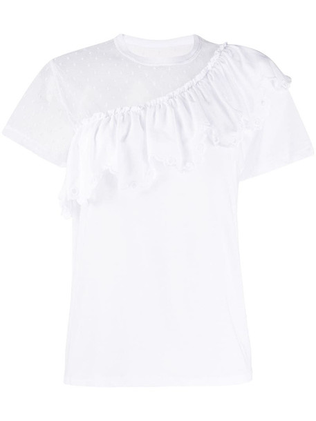 RedValentino ruffled panelled T-shirt in white