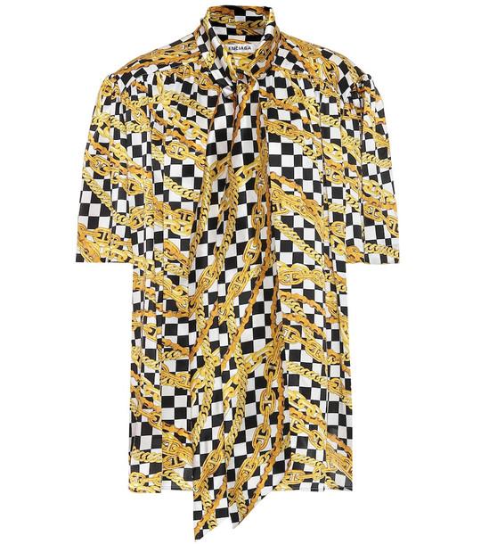 Balenciaga Scarf printed silk-satin shirt in gold