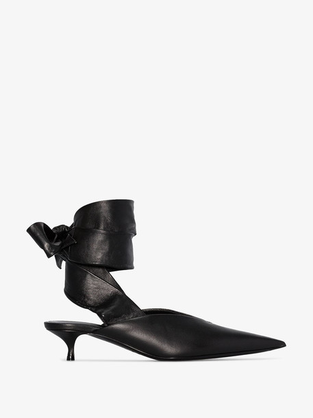 Balenciaga Black Dance Knife Ankle Tie Leather Pumps