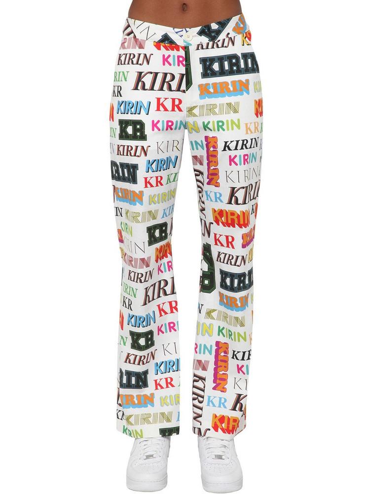 KIRIN Logo Printed Drill Wide Leg Pants
