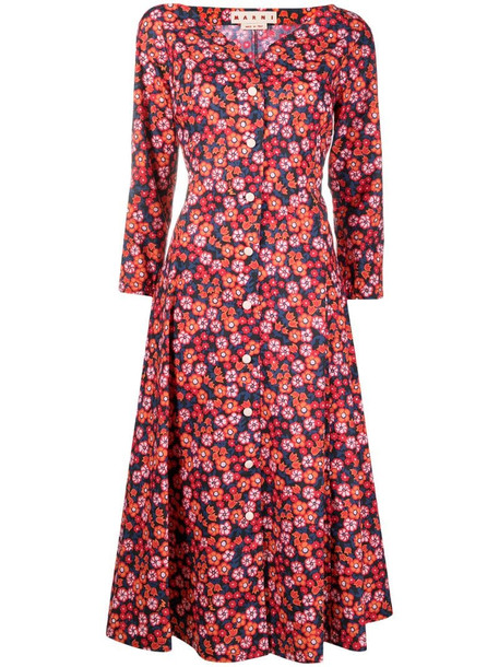 Marni floral-print shirt dress in red