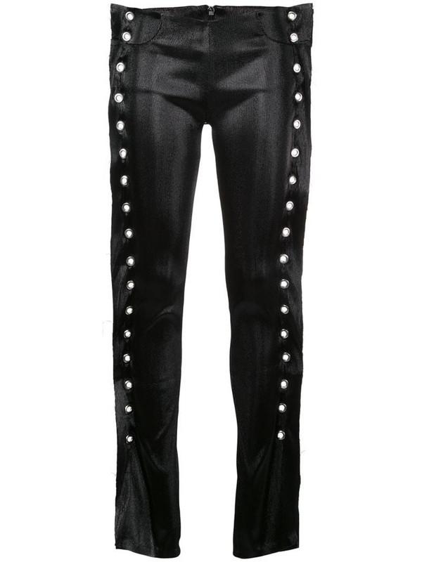 Paula Knorr eyelets stretch jeans in metallic