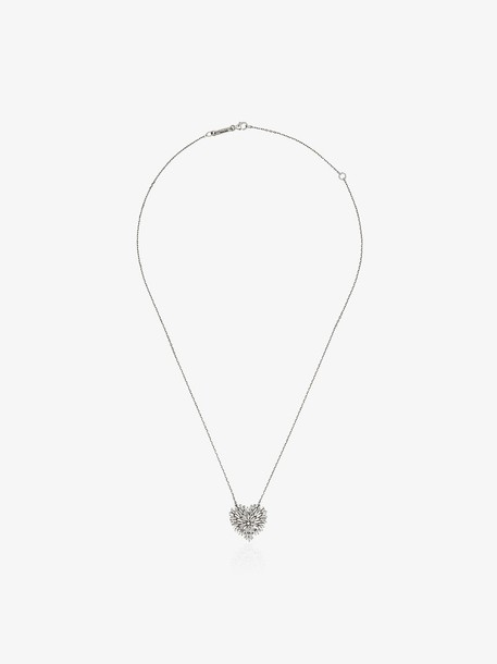 Suzanne Kalan 18K white gold and diamond medium heart firework necklace