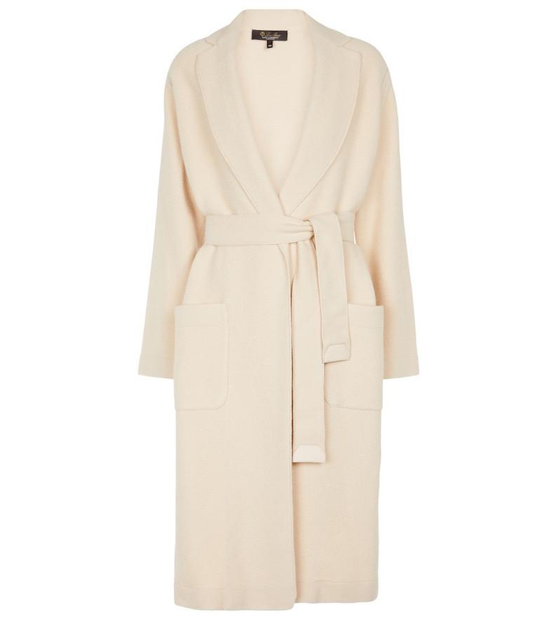 Loro Piana Visconti belted cashmere knit coat in beige