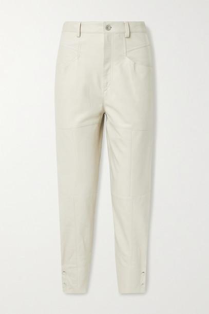 ISABEL MARANT - Xiamao Leather Tapered Pants - Ivory