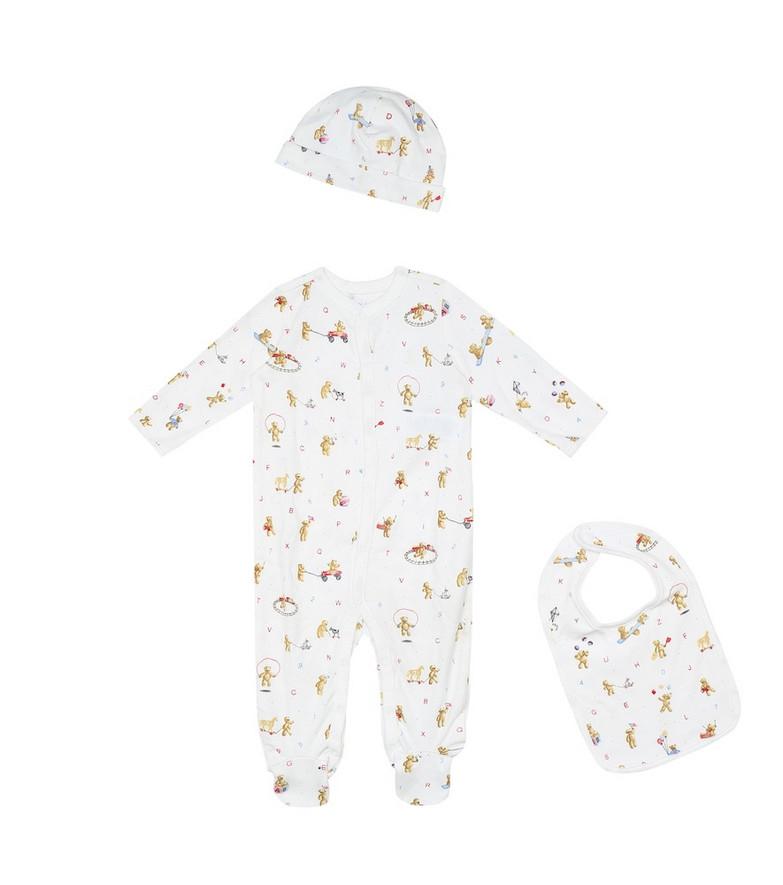 Polo Ralph Lauren Kids Baby printed cotton onesie, hat and bib set in white