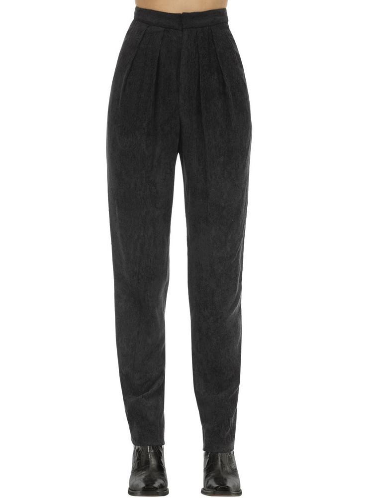 ISABEL MARANT Fany Viscose Velvet Trousers in black
