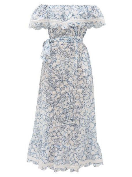 Marysia - Lemnos Ruffled Broderie-anglaise Cotton Dress - Womens - Blue Print