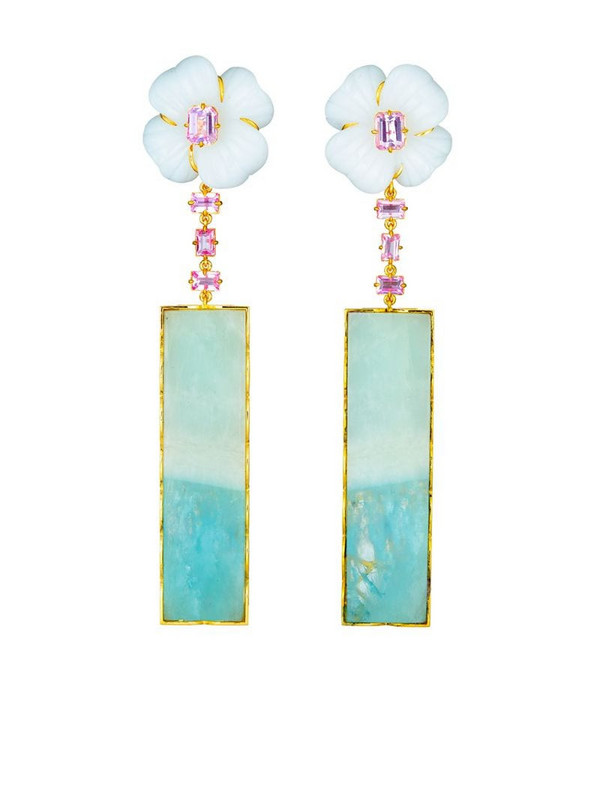 GUITA M 18kt yellow gold, sapphire, agate and aquamarine drop flower earrings in blue