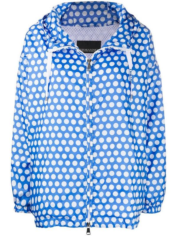 Ermanno Ermanno polka dot zipped jacket in blue
