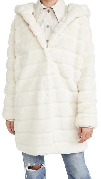 Apparis Celina Hooded Coat in ivory