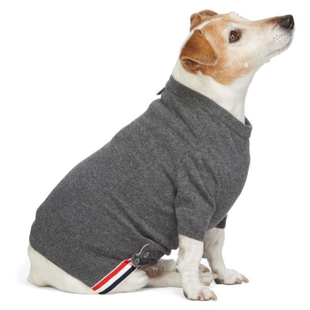 Thom Browne Grey Cashmere 4-Bar Dog Sweater