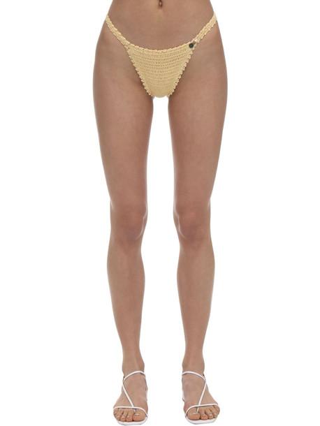 SHE MADE ME Petite Crochet Bikini Bottoms in yellow