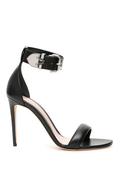 Alexander McQueen Buckled Sandals in black / silver
