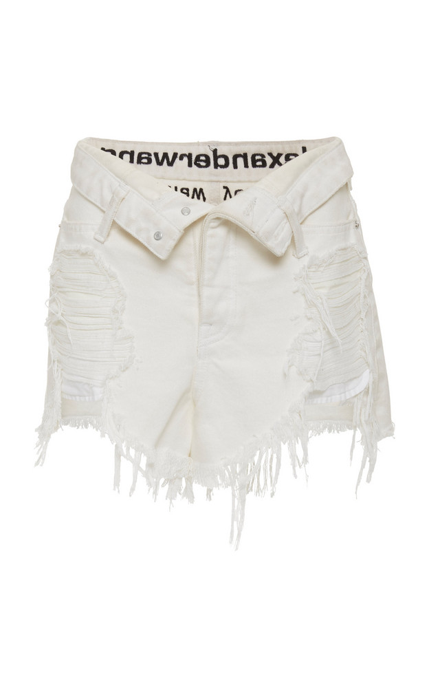 Alexander Wang Runway Bite Distressed Denim Shorts Size: 24 in white