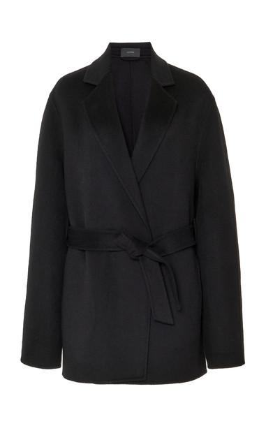 Joseph Cenda Belted Wool-Cashmere Wrap Jacket in black
