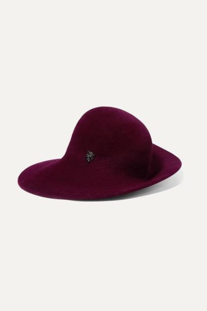 Philip Treacy - Embellished Wool-felt Hat - Burgundy