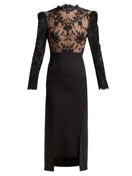 Alexander Mcqueen - Sarabande Lace And Wool Blend Dress - Womens - Black