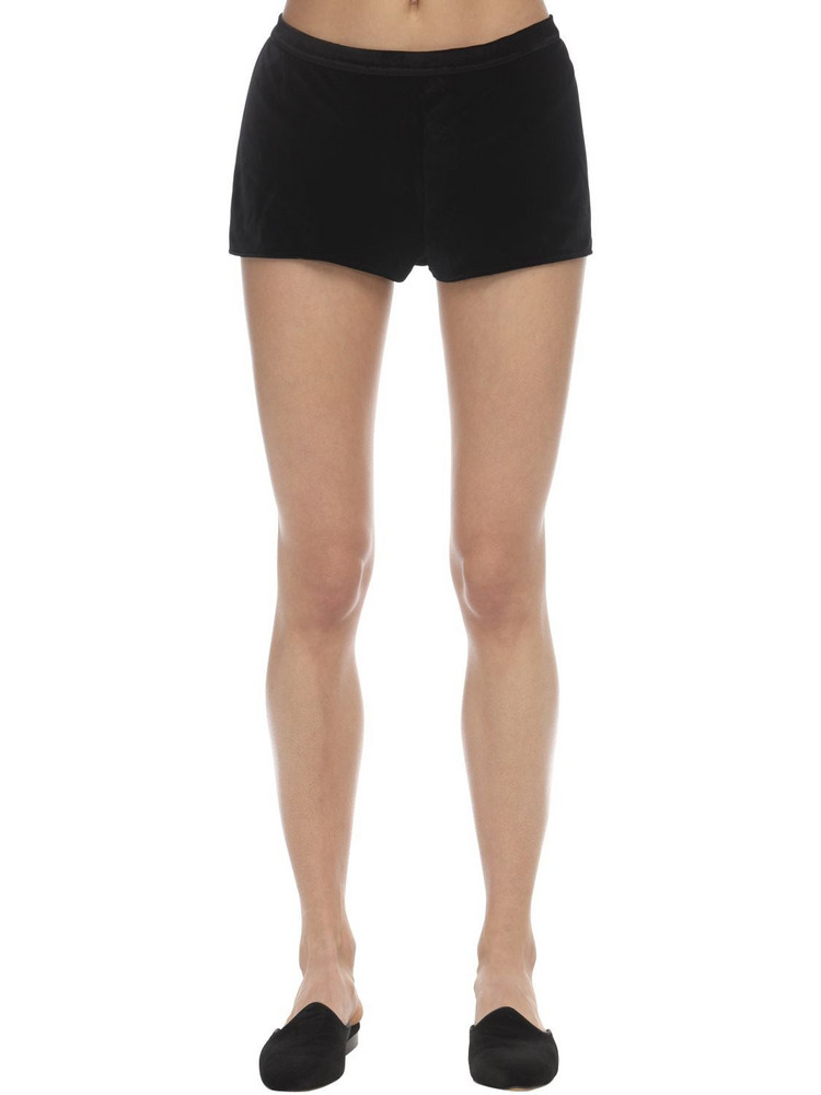 SLEEPING WITH JACQUES Velvet Shorts in black