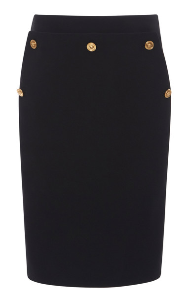 Versace Button-Detailed Cady Pencil Skirt in black