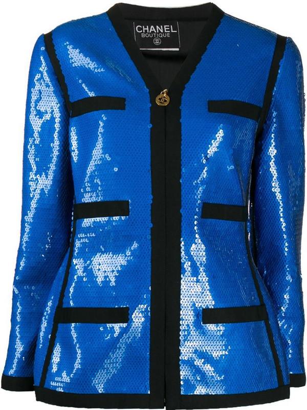 Chanel Pre-Owned 1991 sequin-embellished jacket in blue