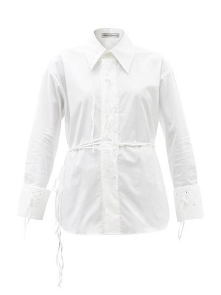 Palmer/harding Palmer//harding - I Love You Braille-eyelet Cotton-blend Shirt - Womens - White
