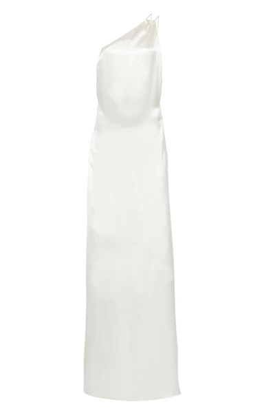 Deitas Marla Satin One Shoulder Gown in white