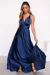 dress,satin dress,maxi dress,navy,formal,prom