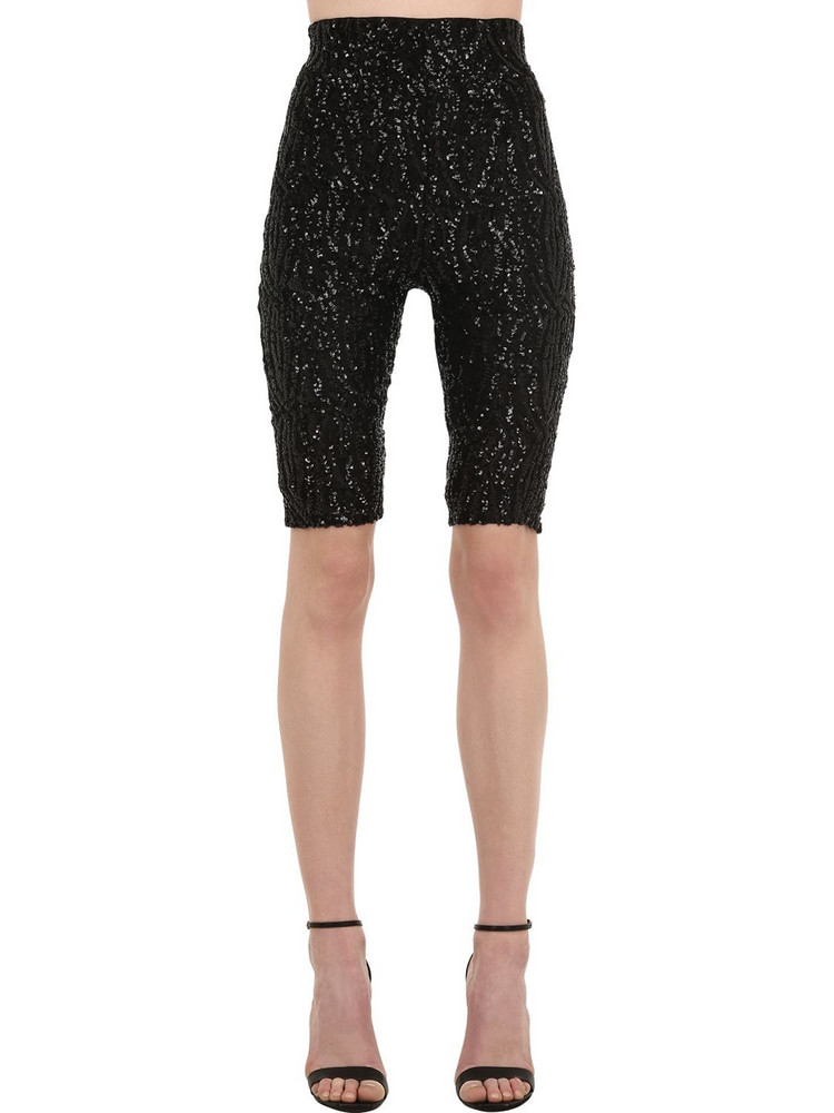 16ARLINGTON High Waist Sequined Lace Cycling Shorts in black