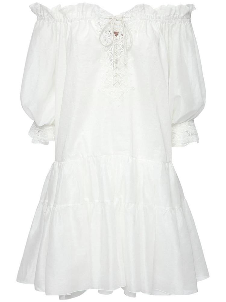 ERMANNO SCERVINO Cotton Caftan Mini Dress in white