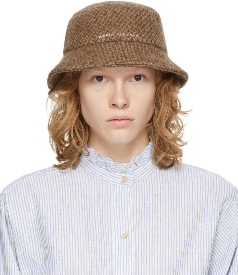 Isabel Marant Brown Wool Denji Bucket Hat in camel