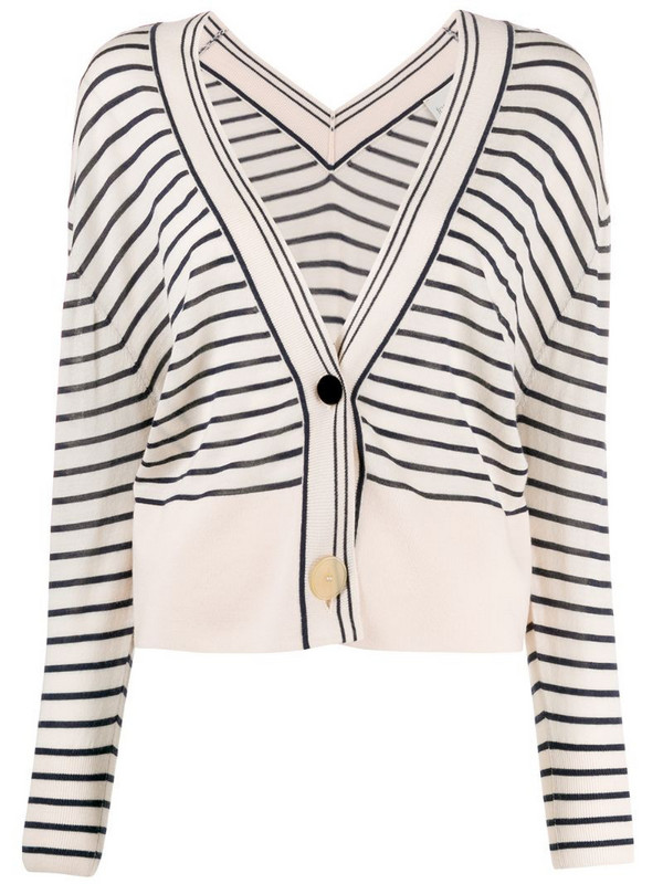 Forte Forte striped loose-fit cardigan in neutrals
