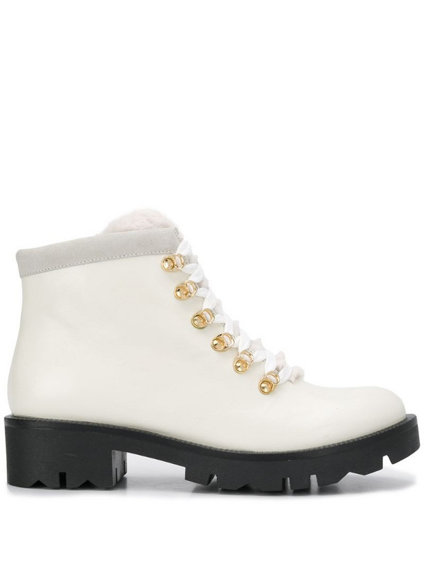 Tosca Blu lace-up trek boots in white