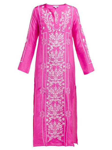 Juliet Dunn - Lotus Embroidered Silk Satin Kaftan - Womens - Dark Pink