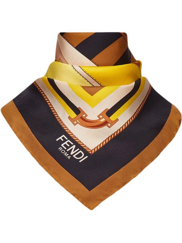 Fendi bag-print logo silk scarf in yellow